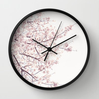 cherry blossom Wall Clock by Neon Wildlife