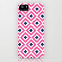 Pink and Navy Blue Diamonds Ikat Pattern iPhone & iPod Case by heartlocked