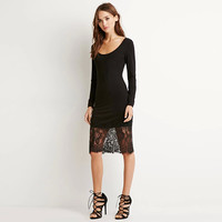 Black Scoop Neck Long Sleeves Lace Embroidered Dress