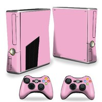 Mightyskins Protective Vinyl Skin Decal Cover for Microsoft Xbox 360 S Slim + 2 Controller skins wrap sticker skins Solid Pink