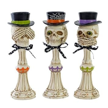 No Evil Pillar Skeleton Figurine Set