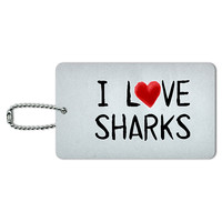 I Love Sharks Written on Paper ID Card Luggage Tag