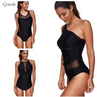 Sexy Mesh Swimwear Women One Piece Swimsuit Plus Size Bathing Suit Indoor Bather Bodysuit 2018 May Beach Push Up Swimming Suits