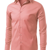 LE3NO Mens Comfortable Slim Fit Tailored Button Down Shirt