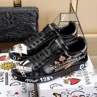 D&G DOLCE & GABBANA Men's Leather Fashion Low Top Sneakers Shoes-DCCK