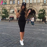 Women Casual Summer Short Sleeve Evening Party Dress Midi Dress 3 Colors drop shipping good quality designer clothes
