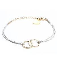 Gold and White Double Circle Bracelet