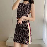 FENDI summer new classic jacquard embroidery knit vest + half skirt two-piece suit upper body A-line package hip skirt