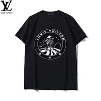 LV Louis Vuitton 2019 early spring new space astronauts printed round neck couple models short-sleeved T-shirt black