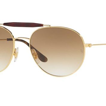 Ray Ban Round Aviator Double Bridge RB3540 001/51 Sunglasses Gold with Brown Gradient