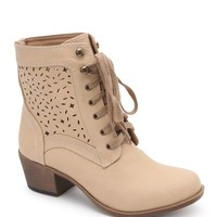 Black Poppy Lazer Cut Lace Heel Boots - Womens Boots - Brown - 6