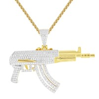 Men's Silver Machine Gun Assault Weapon Iced Out Pendant