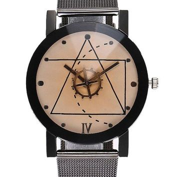 Alloy Mesh Strap Geometric Watch