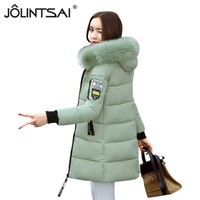 2017 Winter Jacket Women Warm Parkas Padded Cotton Coat Female Middle-long Fur Hooded Winter Coats Overcoat Jaquetas Feminino