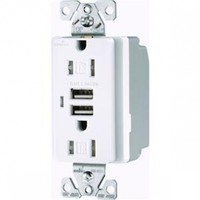 Cooper Wiring Devices TR7745W-BOX  Combination USB Charger with Tamper Resistant Receptacle and Box, 15-Amp, White Finish