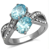 Beautiful Soul - FINAL SALE Sea Blue Stones With CZ Crystal Cocktail Stainless Steel Ring