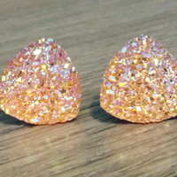 Druzy earrings-  Triangle iridescent Honey orange druzy earrings