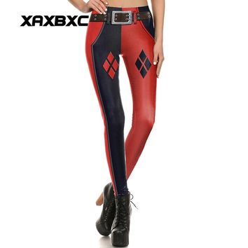 New 1644 Sexy Girl leggins Suicide Squad Harley Quinn Belt Printed Polyester Elastic Fitness Workout Women Leggings Pants