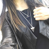 Long Silver layering Crystal Drop Necklace