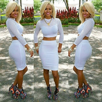 s-3XL Sexy Evening Club Party Dress 2 pcs white Mesh Striped  Casual Dress  5828 = 1696621956