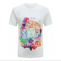 Versace classic personality colorful Medusa pattern T-shirt fashion men and women round neck short-sleeved tops