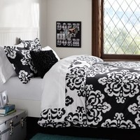 Ikat Medallion Duvet Cover + Sham, Black