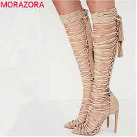 2017 Plus size 34-43 new sexy knee high gladiator sandals high heels lace up suede summer boots thin heels party dance shoes