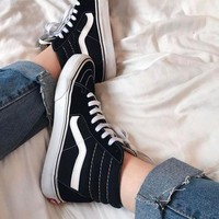 """Vans"" With Fur Warm Casual Shoes Black high tops sport shoes+GIFT Send free mesh panty-hose"