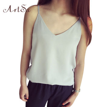 Summer Fashion Style Loose V-Neck Chiffon Women Summer Vest Solid Casual Brief Camis Women Tank