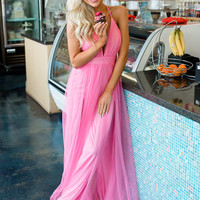 It Comes Naturally Sheer Maxi Dress Neon Pink CLEARANCE