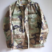 Vintage Camo Jacket Shirt Camouflage Military Faded S