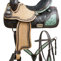 Saddles Tack Horse Supplies - ChickSaddlery.com Double T Barrel Saddle Set With Teal Filigree Inlay