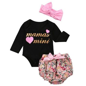 Baby Clothing born Kid Baby Girl Clothes Long Sleeve Romper Jumpsuit +Ruffle Shorts +Bow Headband Outfit Set