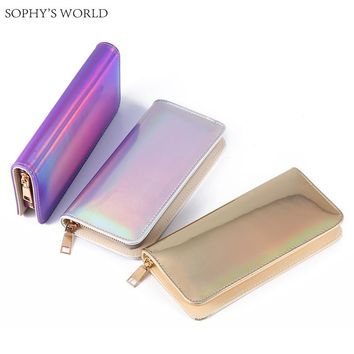Hologram Zipper Clutch Wallet Women Long Wallets Money Purse Female Slim Wallet Organizer Card Holder Phone Coin Purse