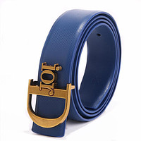 Dior simple retro men's and women's wild letter buckle belt blue