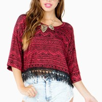Tribal Cropped Applique Top