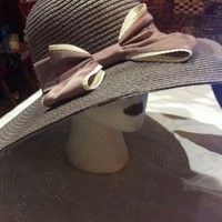 Vintage Style New Taupe Woven Straw Wide Brim Sun Hat