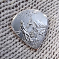 Mini Coin Guitar Pick - Premium Quality - Jazz Stubby - Handmade with a High grade 2005 California State Quarter - Artisan Guitar Pick
