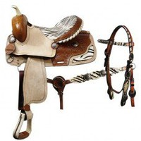 Double T 15 inch barrel style saddle with matching headstall and breastcollar