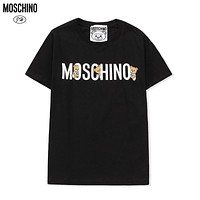 Moschino trendy personality cute bear logo round neck short sleeve fashion men's and women's top T-shirt