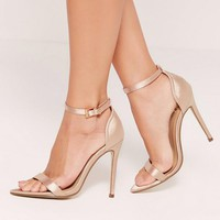 Missguided - Satin Pointed Toe Barely There Heels Gold