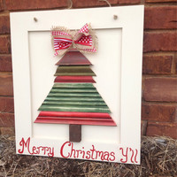 Red & green Christmas Tree on cream Cabinet Door for home decor or door hanger by Higgi House