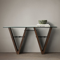 Reclaimed Wood & Glass V-Form Console Table