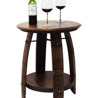 RECYCLED WINE BARREL SIDE TABLE | Recycled Wine Barrel Side Table is Handmade from Reclaimed Wood and Brings Classic, Rustic, Green Charm to Home Decor | UncommonGoods