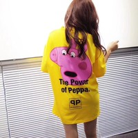 balenciaga x peppa pig women loose casual letter cute cartoon pattern print short sleeve t shirt top tee