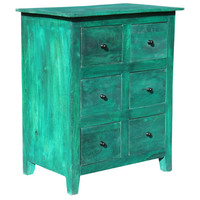 6 Drawer Cabinet, Green Distress