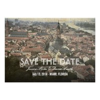 Vintage Europe Old Town Save the Date Cards