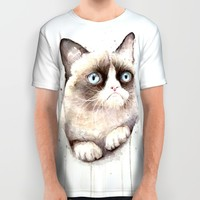 Grumpy Watercolor Cat All Over Print Shirt by Olechka