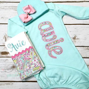 Girl Coming Home Outfit Baby Gown Bow - Baby Girl Bring Home Outfit - Mint Sleeper With Bow - Unique Baby Clothes - Monogrammed Baby Gown