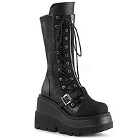 Shaker 71 Black Lace Up Goth Platform Knee Boot
